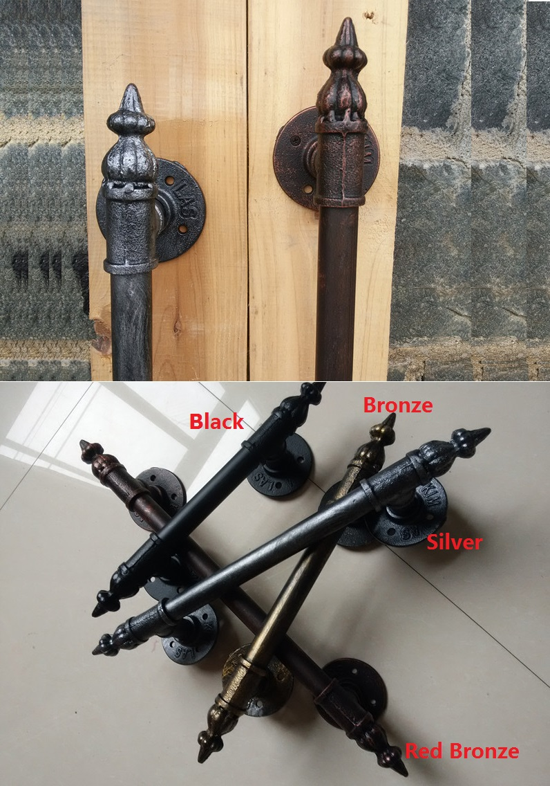 купить American Vintage Rural Antique Wooden Door Handle Handles Pull Pulls Water Iron Pipe Loft Black по цене 2311.92 рублей