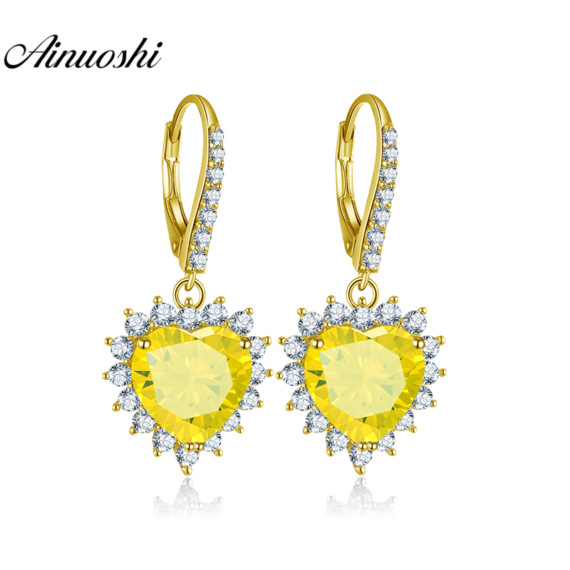 AINUOSHI 10K Solid Yellow Gold Drop Earring 8 Carat Heart Cut Yellow Color SONA Diamond Women Jewelry Gifts Click Back EarringAINUOSHI 10K Solid Yellow Gold Drop Earring 8 Carat Heart Cut Yellow Color SONA Diamond Women Jewelry Gifts Click Back Earring