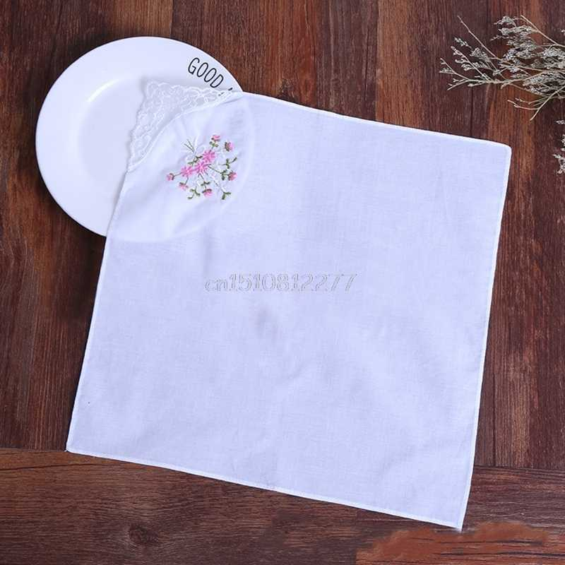6 Pcs Vintage Cotton Ladies Embroidered Lace Handkerchief Women Floral Hanky #H0VH# Drop shipping