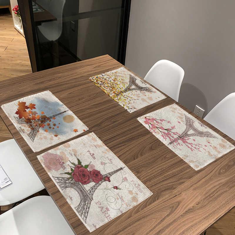 جميلة الشهيرة باريس بناء برج الجدول منديل زهرة رسالة تزيين غرفة المعيشة قاعة الطعام مابل ليف الجدول حصيرة تحديد الموقع
