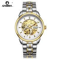 CASIMA or creux en acier inoxydable bracelets montres d'affaires automatique mécanique hommes montre-bracelet avec étanche avec boîte de montre 8806