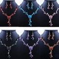Mujeres libres Del Envío Crystal Rhinestone Pendientes Del Collar Del Partido de la Boda Joyería Nupcial Conjunto Caliente ZB380
