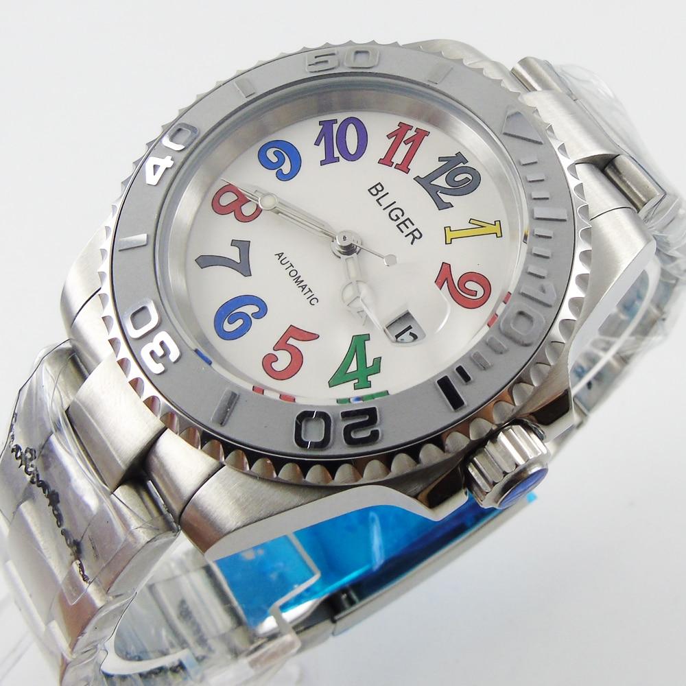 9b44426c215 Bliger 40mm branco dial data Cerâmica Bezel marcas coloridas de vidro safira  relógio Dos Homens movimento Automático