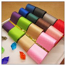 Free shipping Dot Printed Ribbon 1-1/2 38mm satin ribbon,12 color mixed