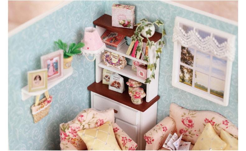 ручной работы дом кукольный домик кукольный домик комната Сделай Сам дом игрушка набор набор, миниатюрный кукольный дом освещение миниатюрный кукольный домик