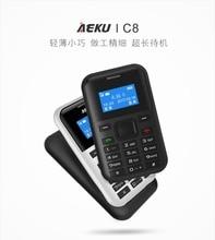 2017 aeku C8 mini tarjeta de emergencia teléfono con reserva cartera ultrathin versión del estudiante de tarjeta de crédito