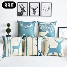 AAG Cartoon Elk Throw Pillows Nordic Style Back Cushion Home Office Couch Car Seat Bed Waist Decor 45x45cm