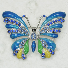 Blue Rhinestone Enamel Butterfly Pin brooches C158 B