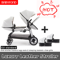 Free ship Twin baby stroller luxury high landscape eggshell double pram folding light kid carriage semaco
