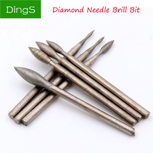 Diamond Grinding Head Polishing Needle Bits Burrs Metal Stone Jade Engraving Carving Tools For Dremel 2.35mm Shank J Needle