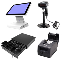 15 inch All in one POS Touch Screen POS System Cash Register With thermal Printer Cash Drawer & Barcode Scanner