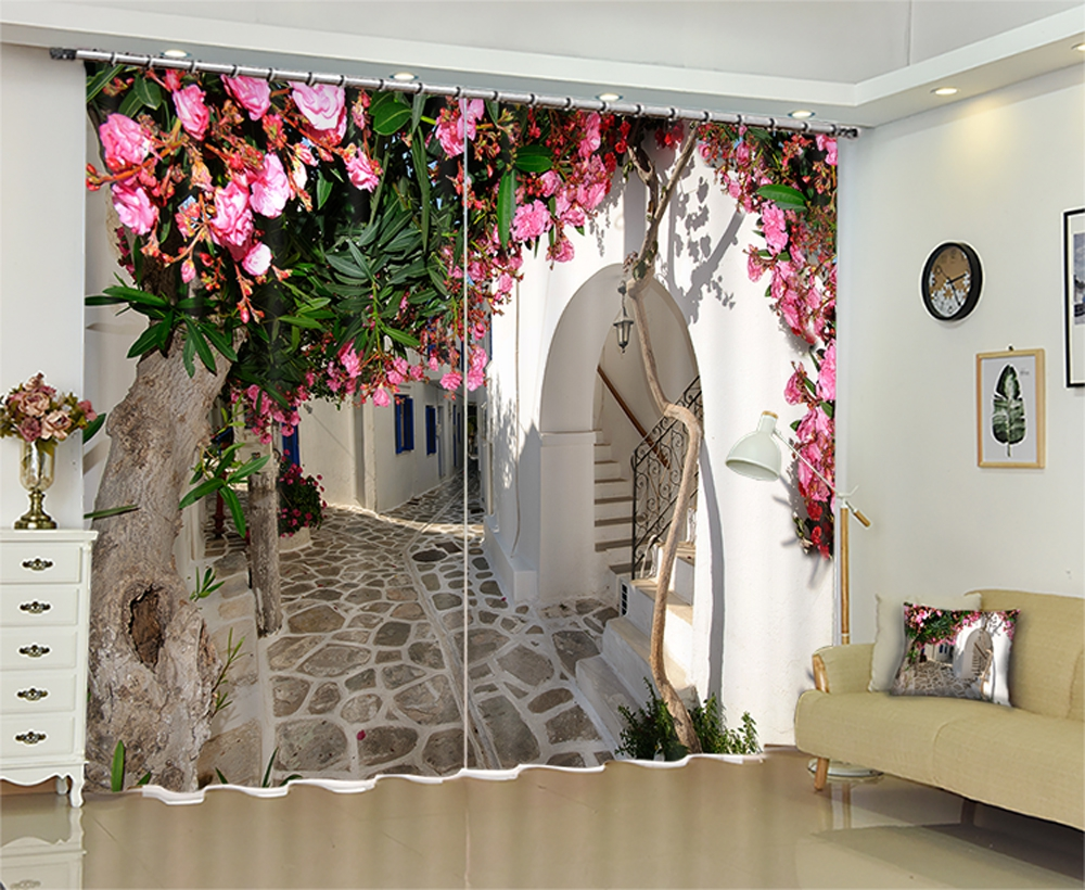 Nature Personality Style Alley Photo Print 3d Curtain Mediterranean Garden Door Curtain