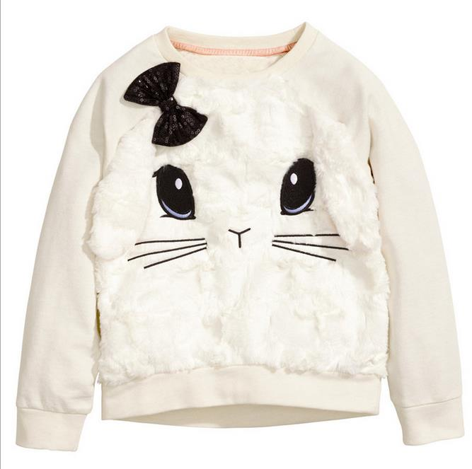 2-7t years Girls T-shirt Kids Tees Baby girl brand t shirts Children tees Long Sleeve 100% Cotton white rabbit Sweater Clothing