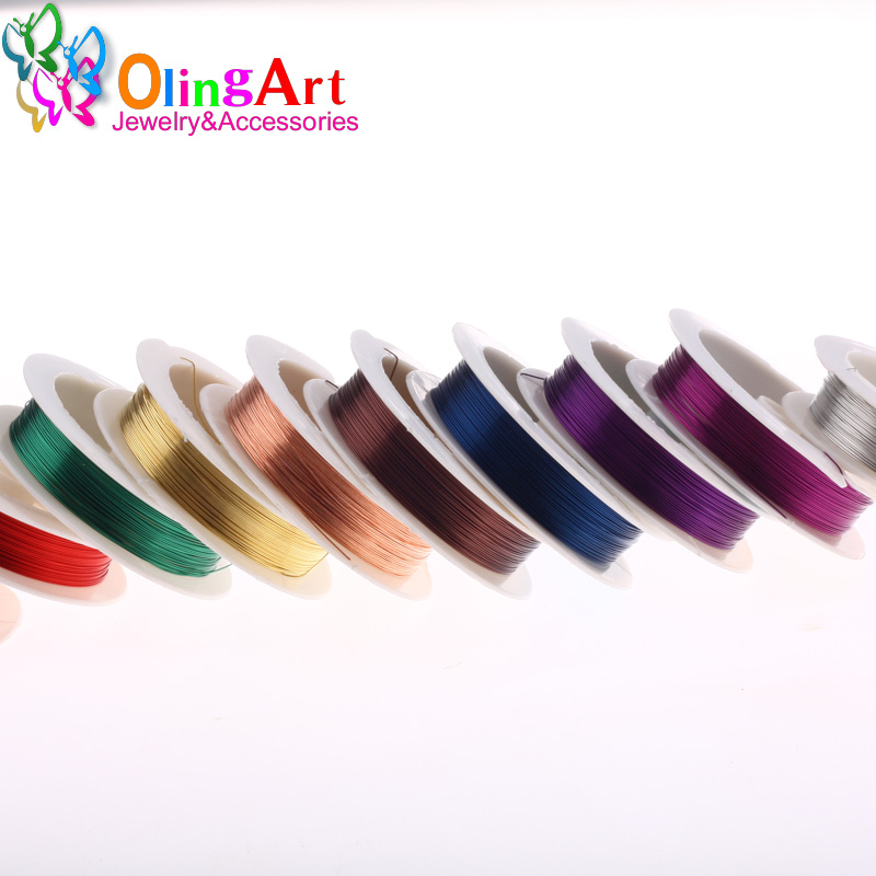 OlingArt 0.4MM 12M/Roll Copper Wire mixed color plated Beading DIY Cord/String necklace Bracelet earrings choker jewelry making