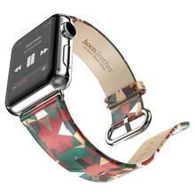 2016 новая мода абстрактный узор группа для apple часы реального кожаный ремешок для меня смотреть замена официальный цвета горячей продажи