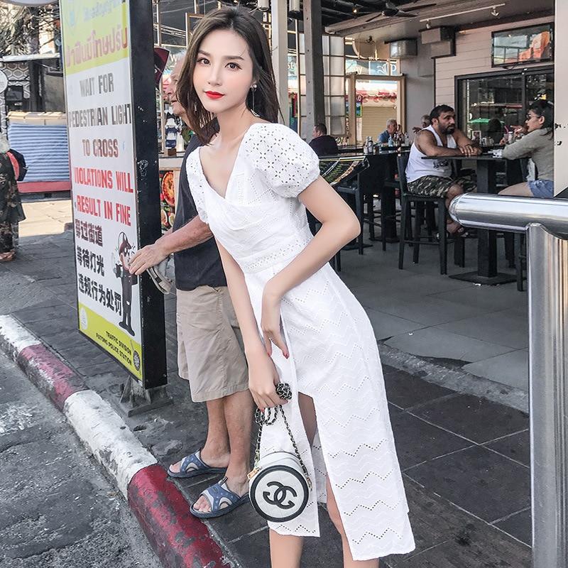 2019 nuevos de las mujeres vestido de verano Vestido de manga corta de corte Slim a rayas de cuello redondo elástico en la cintura-in Vestidos from Ropa de mujer    1