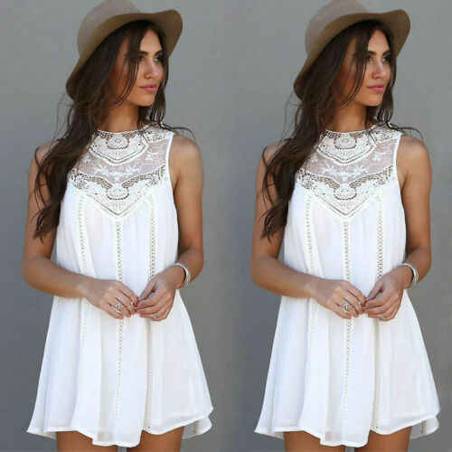 Stylish Hot Sale Women's Lace Sleeveless Solid-white Mini Dress Lady Summer Casual Loose Party Club Bridesmaids Dress S-XL