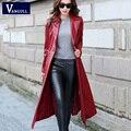 Длинные Кожаные Пальто Женские 2016 Осень женская полноценно PU Кожаная Куртка и Сплошной цвет Моды и Случайные ветровка