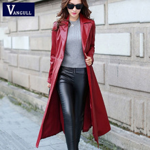 Long Leather Coat Female 2016 Autumn Women's  High-grade PU Leather Jacket and Solid color Fashion and Casual Windbreaker