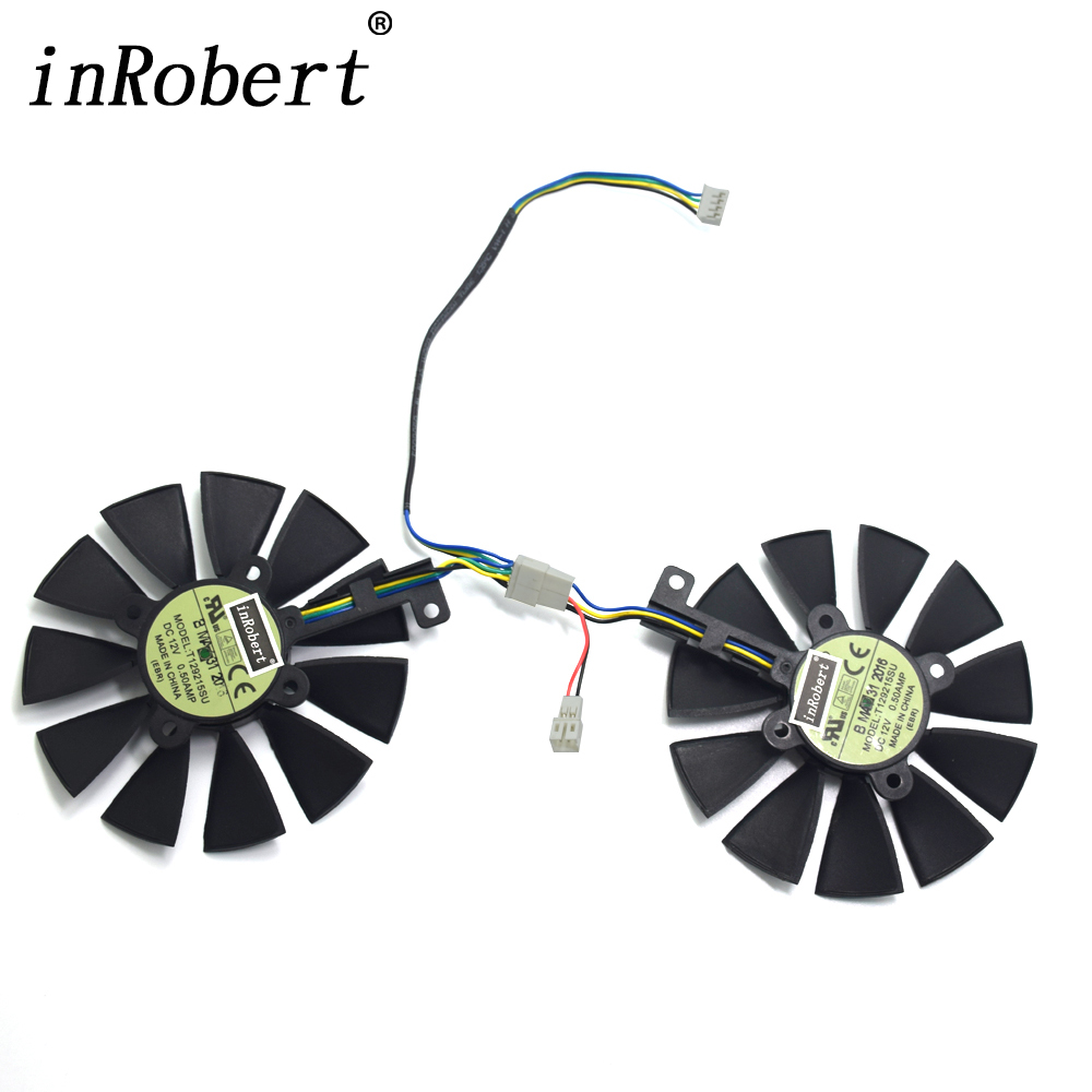 87MM Cooler Fan For ASUS GTX1060 1070 Ti RX 470 570 580 Graphics Card Everflow T129215SU FDC10U12D9-C 2Pin LED Cooling Fans 2pcs gpu rx470 gtx1080ti vga cooler fans rog poseidon gtx1080ti graphics card fan for asus rog strix rx 470 video cards cooling