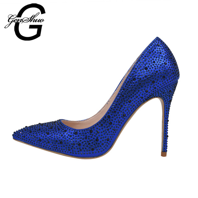 Genshuo royal blue wedding shoes women high heels pumps sexy thin genshuo royal blue wedding shoes women high heels pumps sexy thin heels 8 10 12cm crystal junglespirit Image collections
