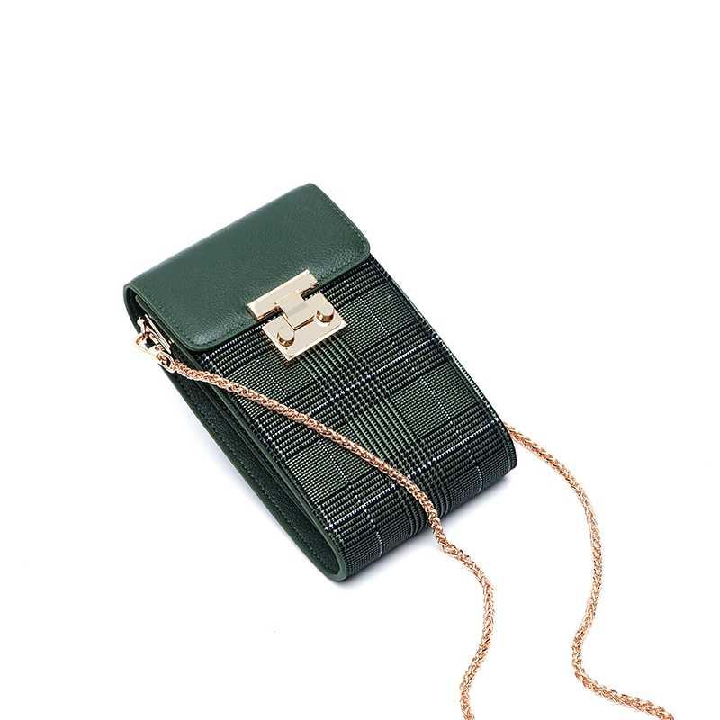 WOONAM Vrouwen Mode Telefoon Houder Top Verbergen Echt Leer met Check Print Kleine Zakje Flap Cross Body Bag WB838