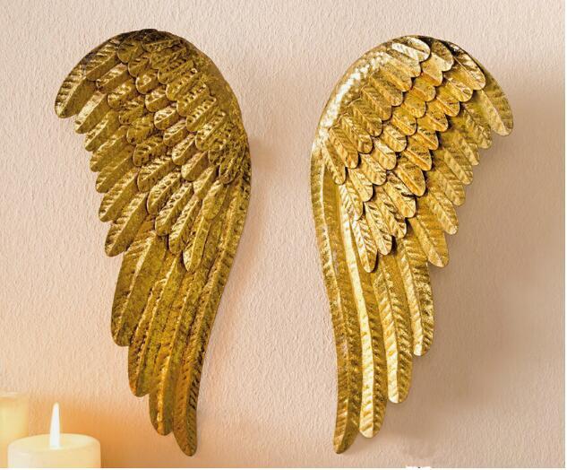 Скидка 50%, 2 шт., высота 28 см, маленькие рождественские золотые старые железные ангельские крылья, подвесные рождественские украшения, домашн...