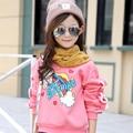 2016 de la moda de alta calidad de los productos de Algodón Otoño y el invierno de la nueva Muchacha de suéter de Los Niños ropa de La Muchacha que basa la camisa
