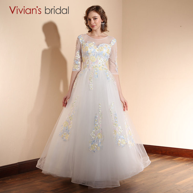 Half Sleeve Wedding Dress Open Back Vivian\'s Bridal Flower Lace ...