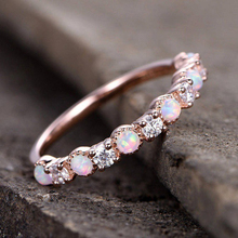 CUTEECO Fashion Simple Opal Rings Jewelry White Fire Zircon Champagne Rose Gold Color Ring For Women Gifts
