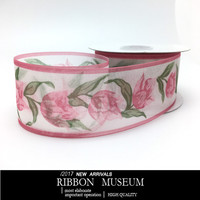 1 Roll Pink Color Tulip Flower Snow Yarn Ribbon 38MM X 25Yards High Quality Taiwan Special