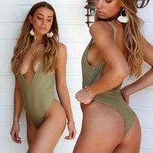 Summer Sexy Swimsuit 2019 NEW Women Solid Sleeveless Deep V-Neck Backless Bikini Push Up