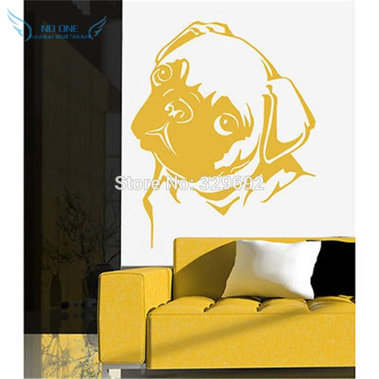 Շարժական PUG DOG WALL ART Կպչուն Mural Giant Decal - Տնային դեկոր - Լուսանկար 4