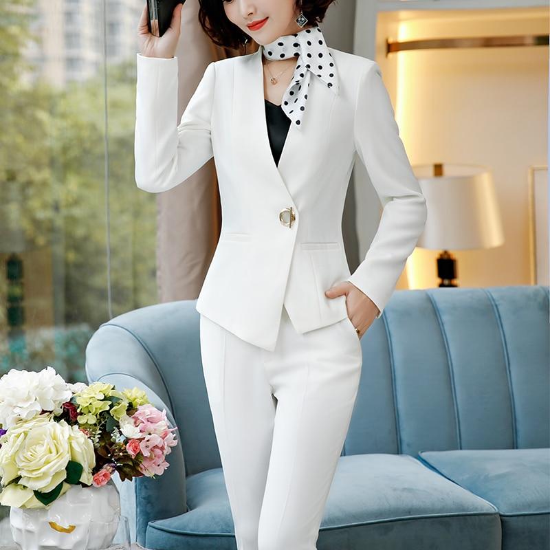 Pièces Costumes white Bureau Lenshin Pantalon D'affaires Costume Asymétrique Pant Suits gray Black Pour yellow Dame Suits Suits Suits De Femmes Work Créations Wear Formelle Uniformes Ensemble Les 2 ZAqzxSrwA5