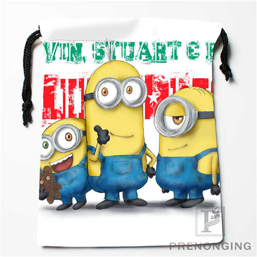 Custom Minion@02 Drawstring Bags Printing Fashion Travel Storage Mini Pouch Swim Hiking Toy Bag Size 18x22cm #171208-19