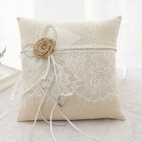 New Arrival Burlap Jute Ring Bearer Rustic Wedding Ring Pillow Cushion Floral Lace Ring Pillow With