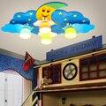 Креативный потолочный светильник для детской комнаты с изображением Луны и облаков для мальчиков и девочек  теплый светильник для детской ...