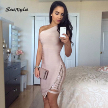 Seamyla New Arrival Celebrity Party Dresses Women One Shoulder Sequined Sexy Spring Dress 2018 Sleeveless Bodycon Bandage Dress
