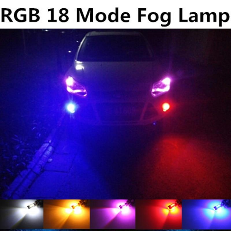 Tcart For Ford Focus 2 3 fiesta Fusion ST mondeo 2 3 KUGA RGB 18 Mode Car vehicle auto H11 H8 Car LED fog light lamp Bulb