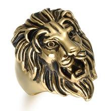 HIP Punk King Lion Ring Vintage Gold Color Titanium Stainless Steel Men Signet Rings for Men Jewelry
