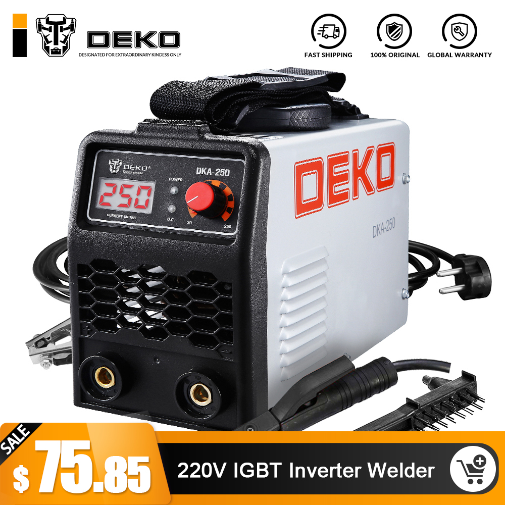 DEKO 220V 200/250A IGBT Inverter AC Arc Welding Machine MMA Welder for Welding Working and Electric Working w/ Accessories
