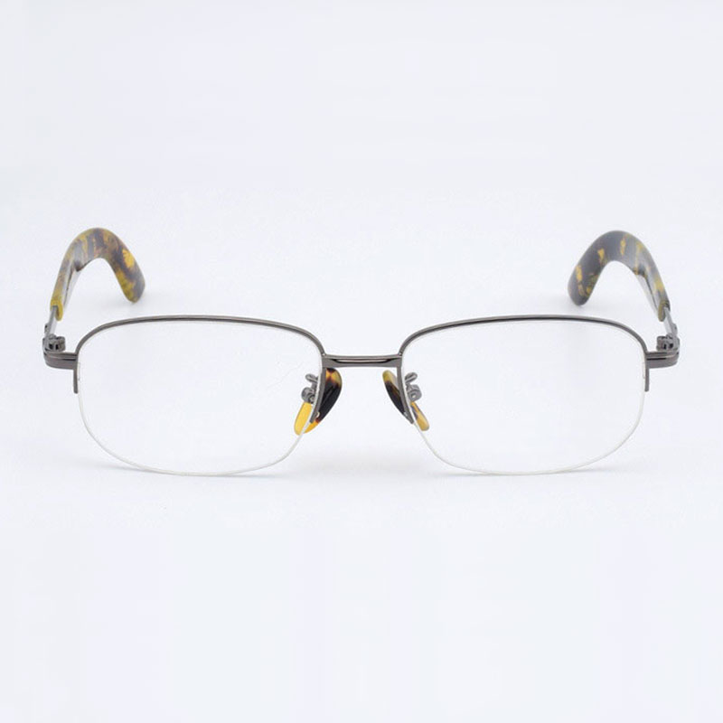 Image 5 - Half Rimless Optical Glasses Frame Acetate Temple Alloy Front Rim Frame Glasses Frame Prescription Semi Rimless Spectacles-in Men's Eyewear Frames from Apparel Accessories