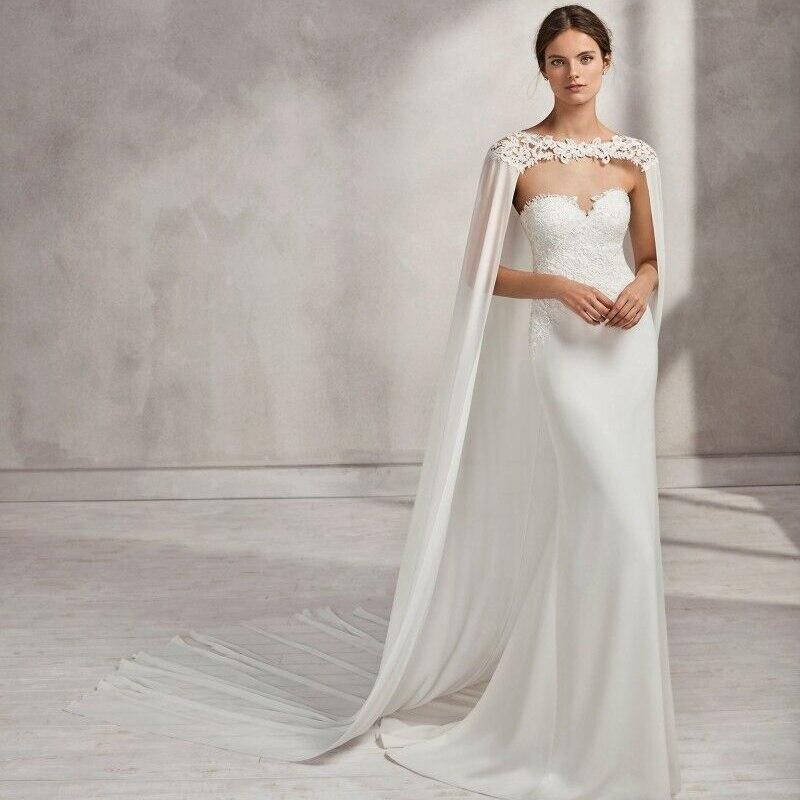 Blanc ivoire mariage enveloppes mousseline de soie mariée veste robe de mariée Cape Appliques offre spéciale manto femmes mariage accessoire