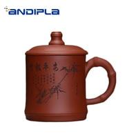 380ML Yixing Purple Clay Teacup Hand Painted Bamboo Pattern Coffee Milk Cup Handmade Raw Ore Zisha Green Tea Mug Birthday Gifts