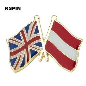 United Kingdom Austria Friendship Flag Metal Badges Brooch Bouquet Badges Enamel 100pcs/lot