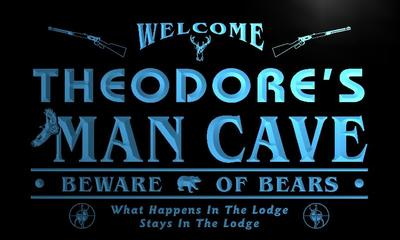 x0149-tm Theodores Man Cave Hunting Lodge Custom Personalized Name Neon Sign Wholesale Dropshipping On/Off Switch 7 Colors DHL