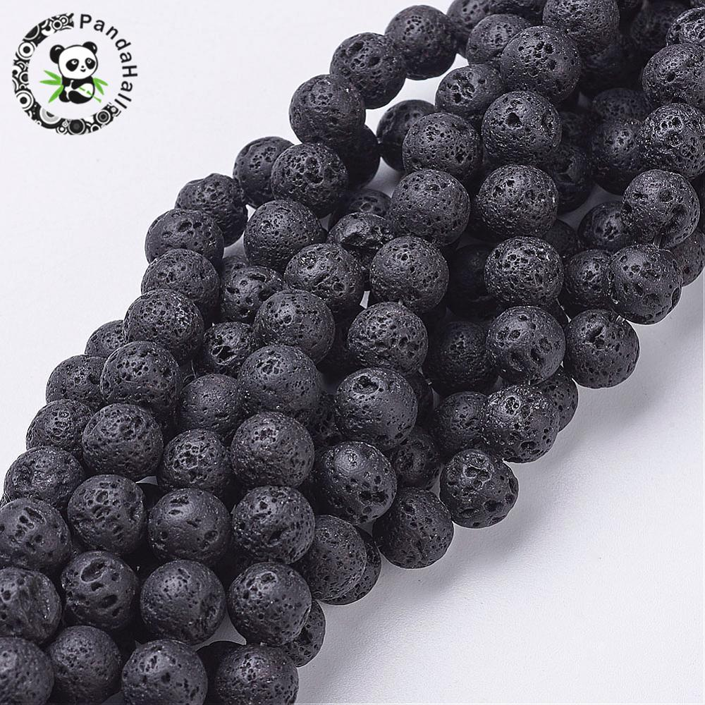 Natural Lava Beads Strands Round Black 8mm Hole 1mm