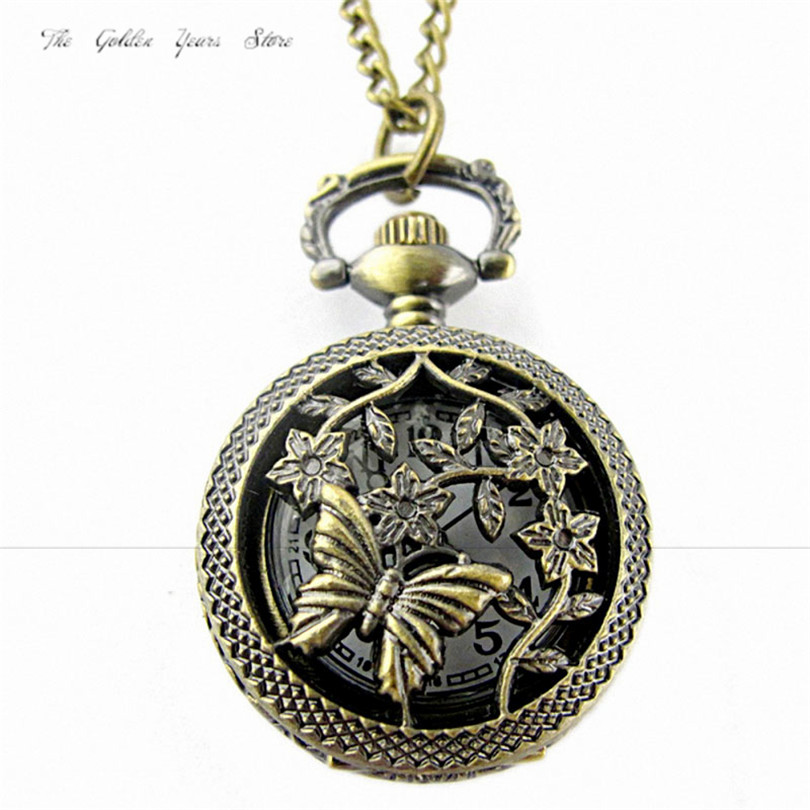 Clock Fashion Gift Women Men Watches 2017 New Unisex Retro Bronze Butterfly and Flower Openwork Cover Pocket Quartz Watch1213d40 2016 aladdin and the magic lamp watch the young men and women fashion quartz pocket watch table birthday gift ds262