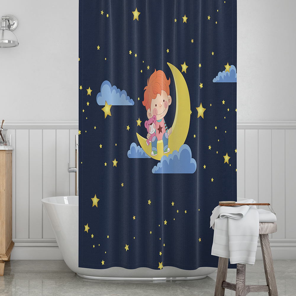 Baby Blue Bathroom Set: Dark Blue Starry Night Shower Curtain Cartoon Baby Moon