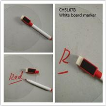 Red inked CH5167B Mini  white board  marker  pen with Magnetic brush(black) on top, very easy to erase,very convenient